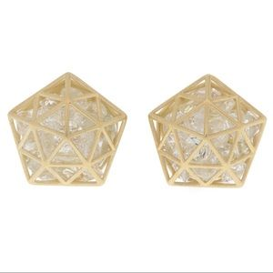 ROULE & CO 18K Gold Pentagon Studs.